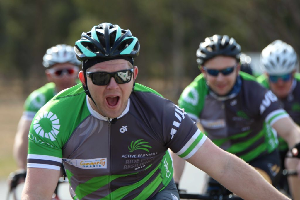 Joe Briggs, Coleambally riding in the Active Farmers Ride for Resilience.